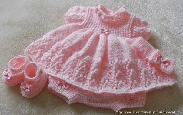 Vestidos de bebé a dos agujas patrones - Imagui