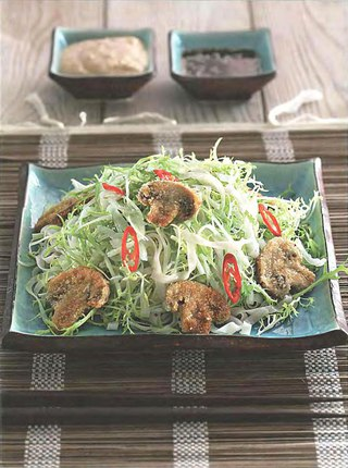 Фото рецепта: Грибной салат с рисовой лапшой