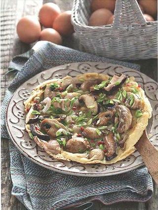 Фото рецепта: Яичница-болтунья с грибами, приготовленная в духовке