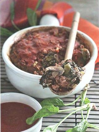 Фото рецепта: Мясная запеканка с грибами и шпинатом