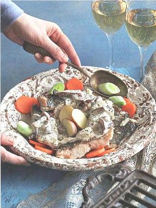 Фото рецепта: Треска с укропно-грибным соусом