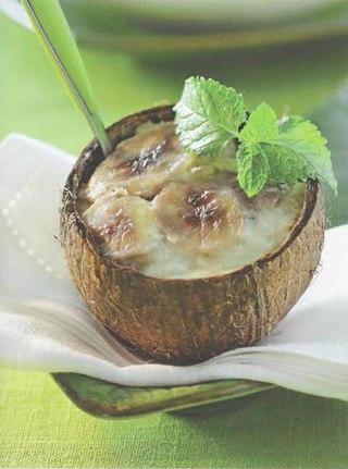 Фото рецепта: Кокосово-банановый крем на пару со стеклянной лапшой
