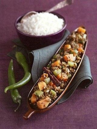 Фото рецепта: Рагу из тыквы с чечевицей