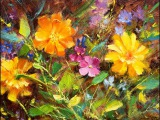 Learn to Paint Daisies Wildflowers &amp Marigolds Oil Painting Demo Fast Motion by Bill Inman