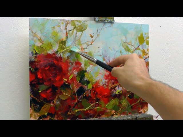 How to Paint Roses - Oil Painting Demo Fast Motion
