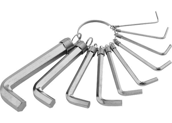 Набор ключей имбусовых HEX, 1,5–10 мм, CrV, 10шт.,никелированный, на кольце   SPARTA