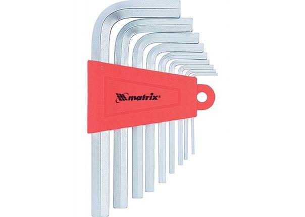 Набор ключей имбусовых HEX, 1,5–10 мм, CrV, 9 шт., сатин.   MATRIX