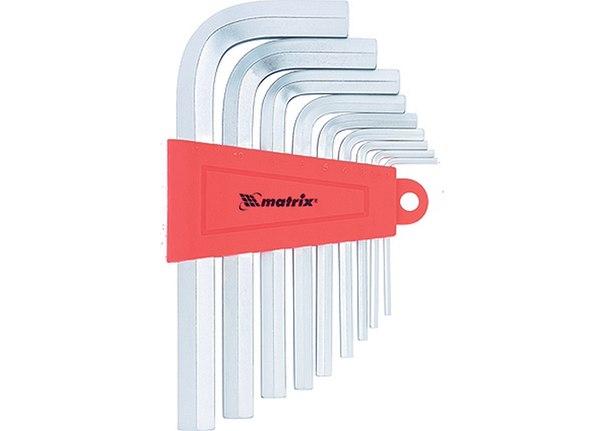 Набор ключей имбусовых HEX, 2–12 мм, CrV, 9 шт., сатин.   MATRIX