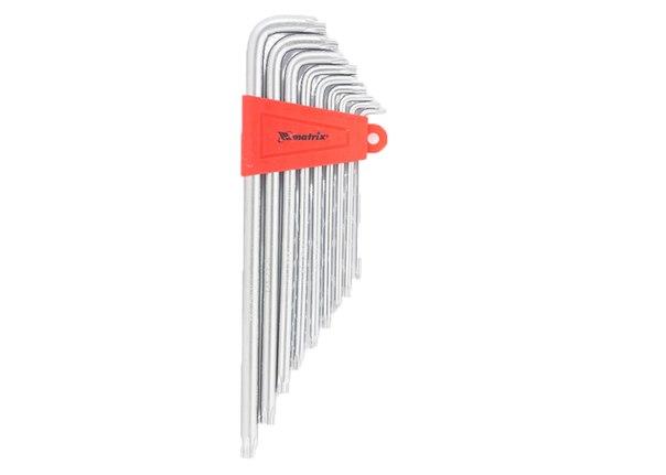 Набор ключей имбусовых TORX, 9 шт: T10-T50,  CrV,  экстра-длин, сатин.   MATRIX