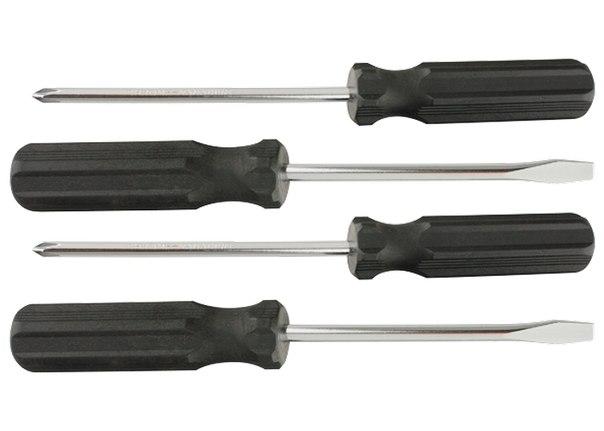 Набор отверток 4шт(SL5x100,6x100, PH1x100,2x100), углеродистая сталь, пластиковая  рукоятка    SPARTA