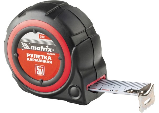 Рулетка Target, автоматическая фиксация, обрезиненный корпус   MATRIX