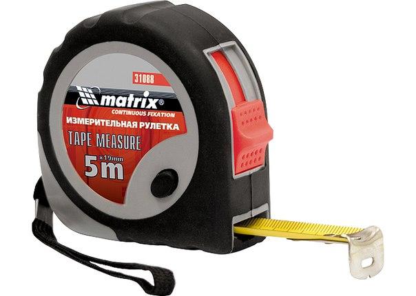 Рулетка Continuous fixation, обрезиненный корпус, плавная фиксация   MATRIX