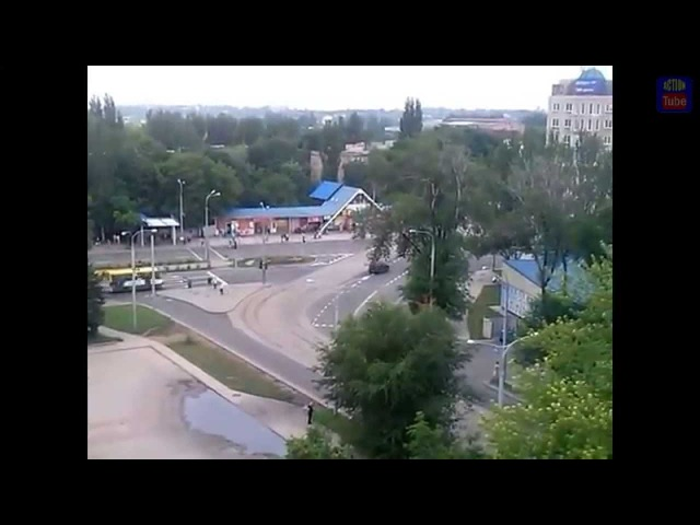 Колонна Т72 из РФ в Донецке/RUS T72 in Donetsk