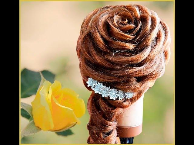 Свадебная прическа на длинные и средние волосы Роза из волос. Rose hairstyle