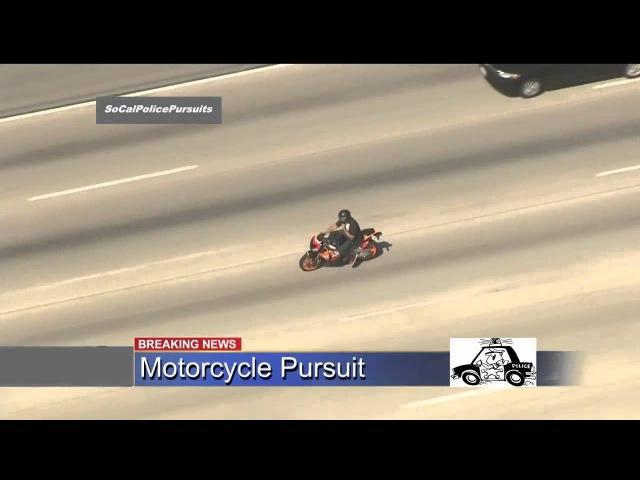 Захватывающая погоня за мотоциклом police pursuit,california