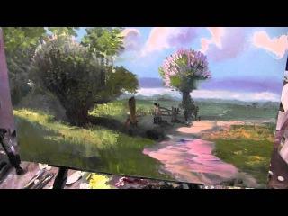 Сельский   пейзаж.Уроки живописи.Игорь Сахаров