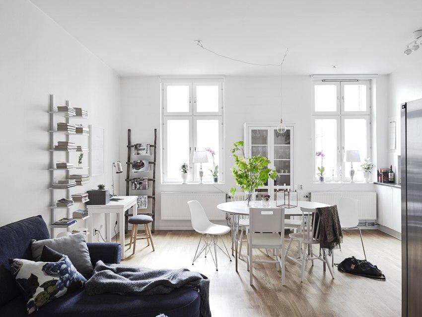 Интерьер просторной квартиры открытой планировки 49 м.
