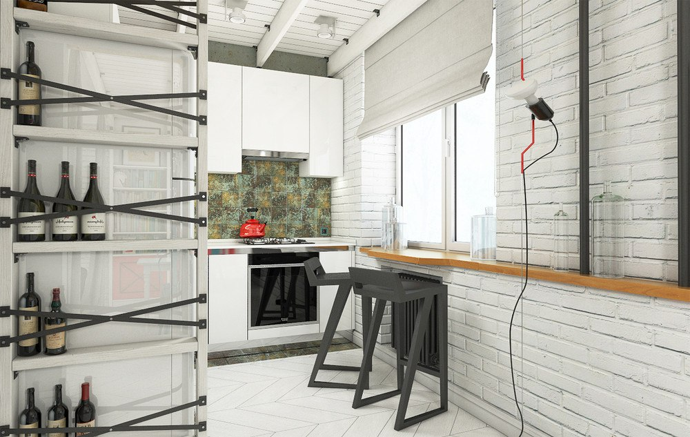 Проект студии 37 м с элементами лофта.