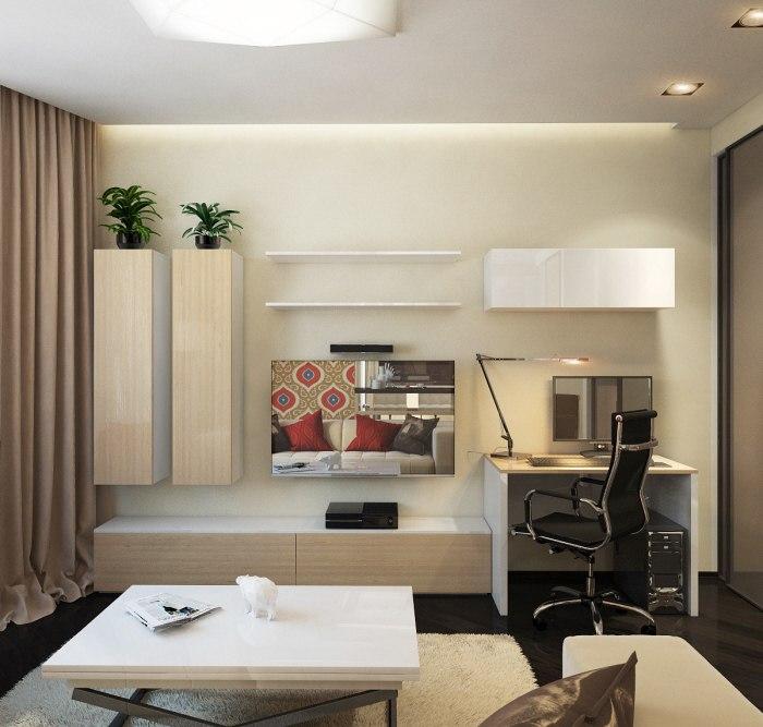 Проект просторной квартиры 45 м для молодой семейной пары.