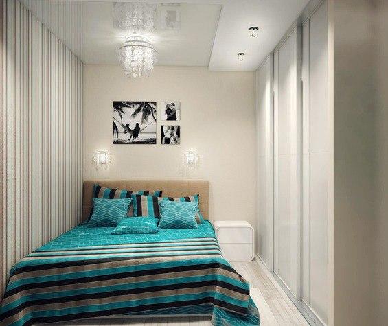 Концепт квадратной студии 40 м с выделенной спальней.