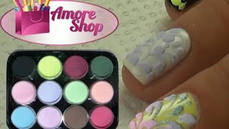 Бархатный песок! ❤ Бархатный эффект с помощью цветных акрилов Kodi ❤ Мастер-класс от AmoreShop
