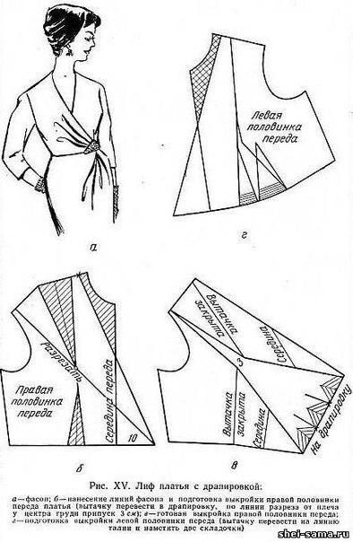 Выкройка драпировки на груди