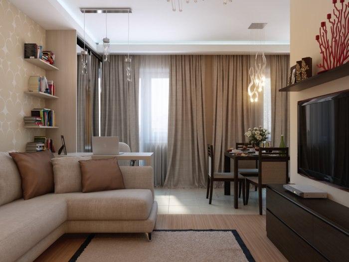 Дизайн квартиры-студии 38,7 м.