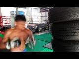 Буакав Прамук, тренировка на шинах, Buakaw Por Pramuk