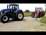 Случай на дороге # Трактор КИРОВЕЦ К701 против New Holland !!!