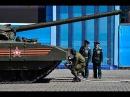 Заглохший танк Армата T 14 на репетиции парада
