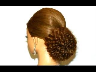 Вечерняя, свадебная прическа для длинных волос. Роза из косичек.