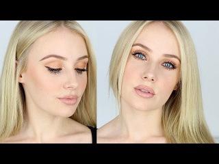 Makeup Tutorial for FAIR SKIN / Contouring, Nude Lips, Bronze Eyes   Lauren Curtis