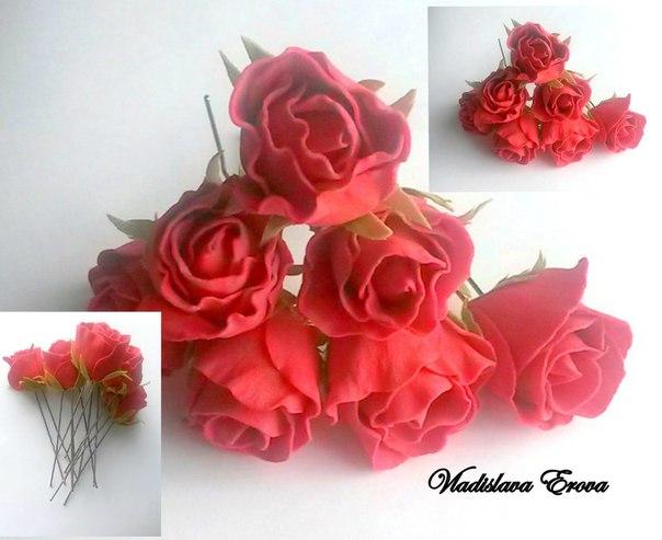 Шпильки красные розы