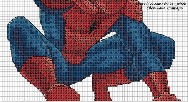 Схема вышивки крестиком человек паук 77