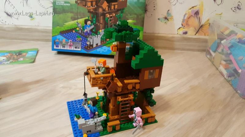 Сравнение аналога Лего, конструктор Лепин Майнкрафт Домик на дереве
