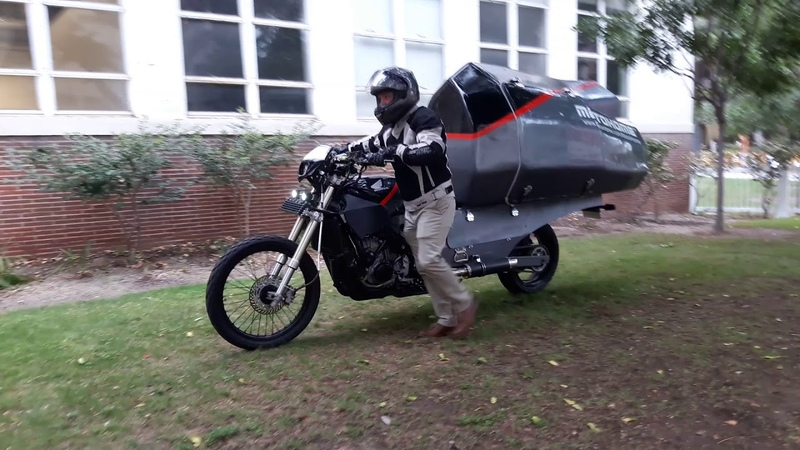 The MotoHome™ and Jeremy Carman ride away after 2018 USC graduation
