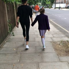 """Victoria Beckham on Instagram: """"Skipping to school with mummy x kisses from Harper Seven 💕💕💕💕"""""""