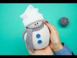 Забавный снеговик из носочка. Попробуйте! Делать легко и получается красиво.