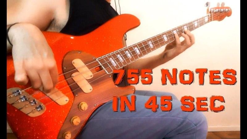 Fernando Petry BASS - 755 NOTES IN 45 SECONDS - Bass Improvisation