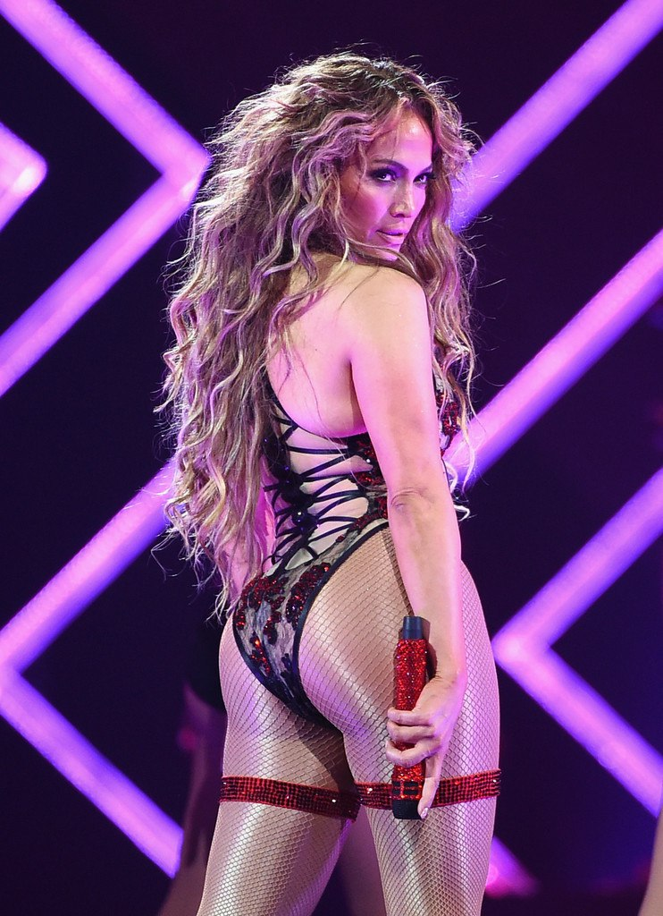 Jlo Brings The Sexy In Skintight Leather Leotard And Sheer Bodysuit