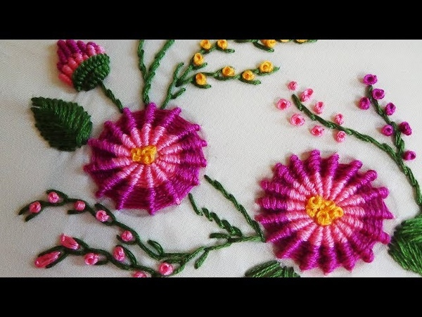 Hand Embroidery Ribbed Spiderweb Stitch