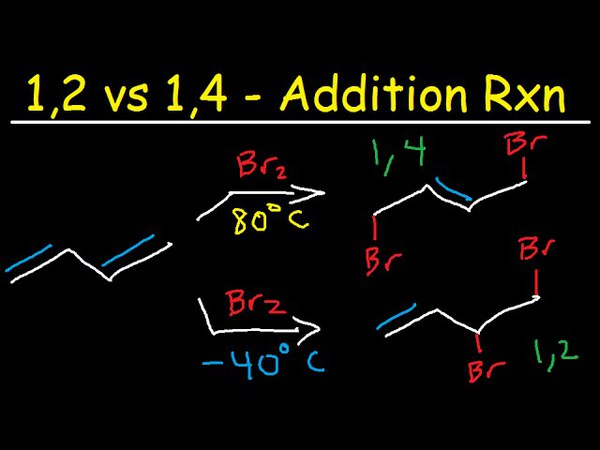 Kinetic vs Thermodynamic Product: 1,2 vs 1,4 addition of bromine Br2 to 1,3 butadiene