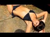 Outdoor trampling prity girl