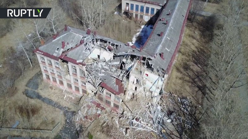 RAW Slowly-sinking ghost town captured by drone