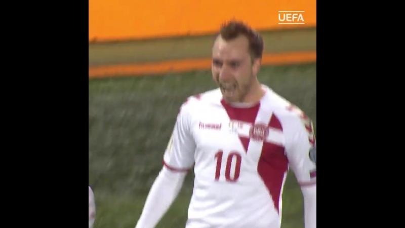 Гол Кристиана Эриксена в ворота сборной Ирландии
