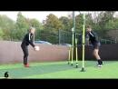 Football fitness training routine using Telescopic Boundary Slalom Poles
