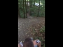 Woman runs down steep hill and falls on her face