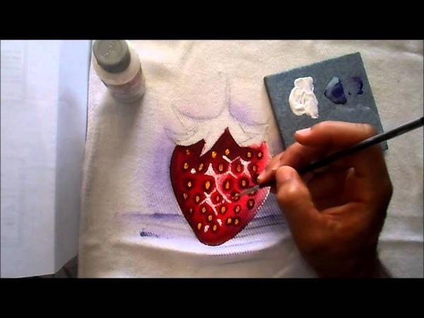 Pintura de morango em tecido
