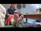 48 year old mature blond storekeeper woman candid working feet