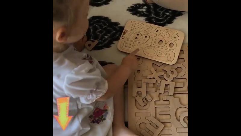 Папа с дочкой учатся считать и читать с помощью Wood Master